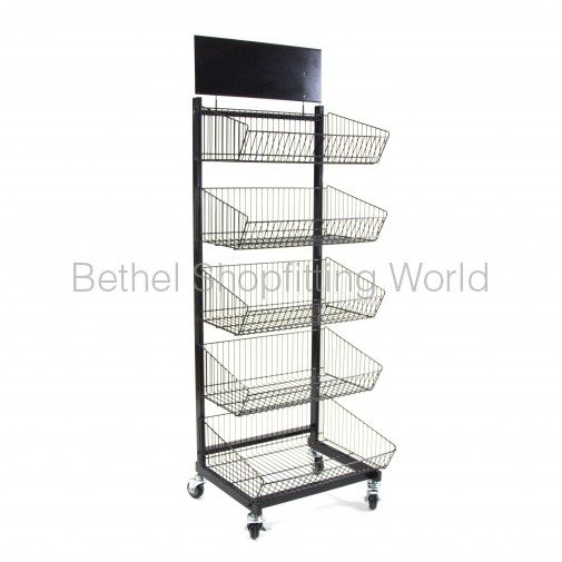 SG-C09 Floor Basket Stand with 5 Basket Black