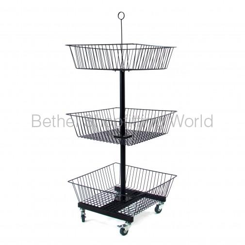 SG-C10 Floor Basket Stand with 3 Basket Black