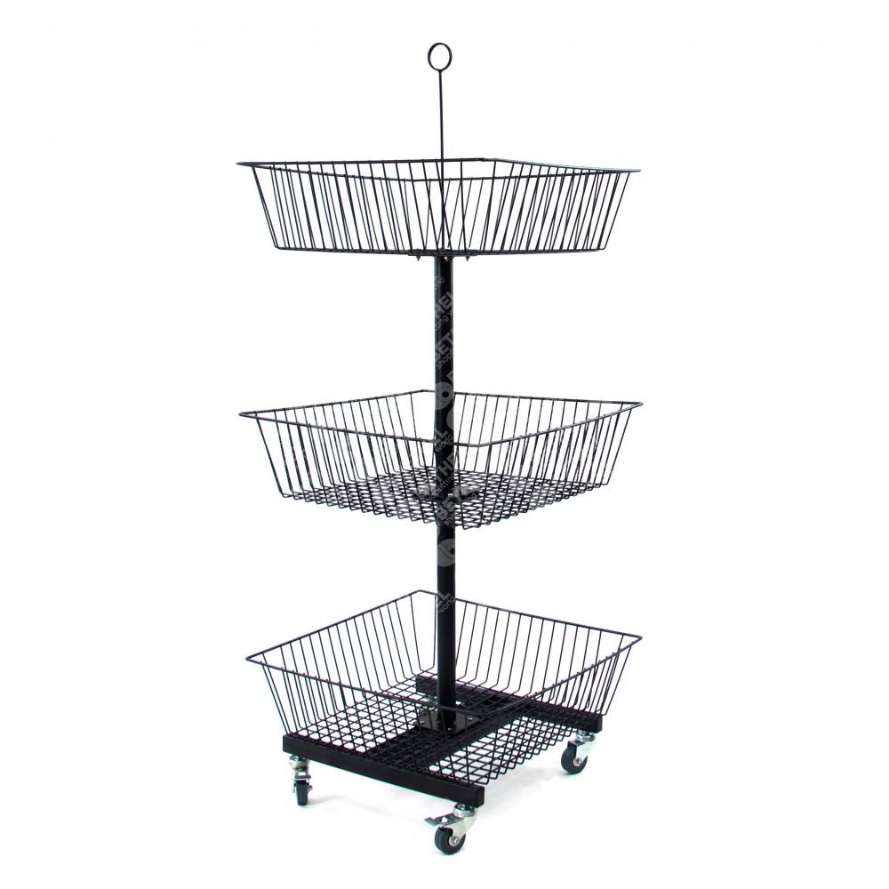 Floor Stand with 3 Basket Black