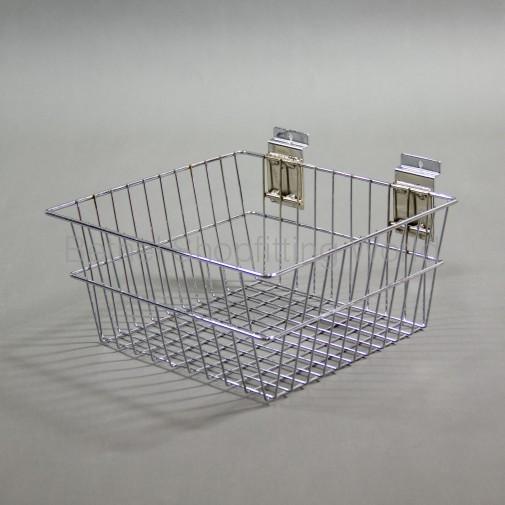 SW-B15 Slat Panel Chrome Deep Basket-300mm