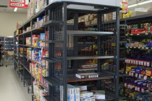 IGA Supermarket Outrigger Shelving Notched Grey a