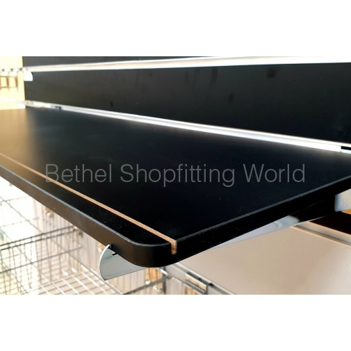 Black Timber MDF Shelves with Round Corner
