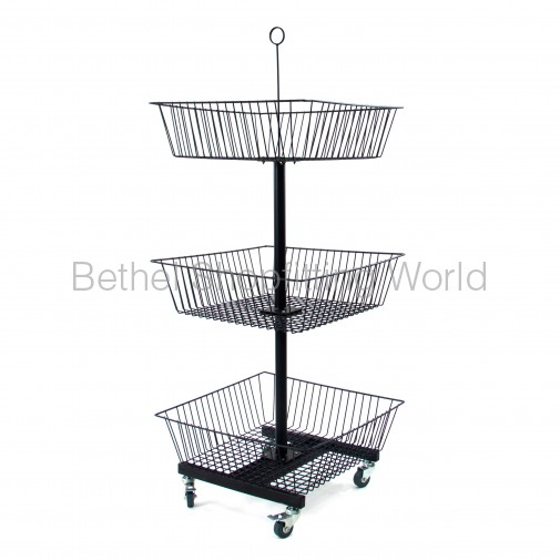 SG-C10 Floor Basket Stand with 3 Basket Black