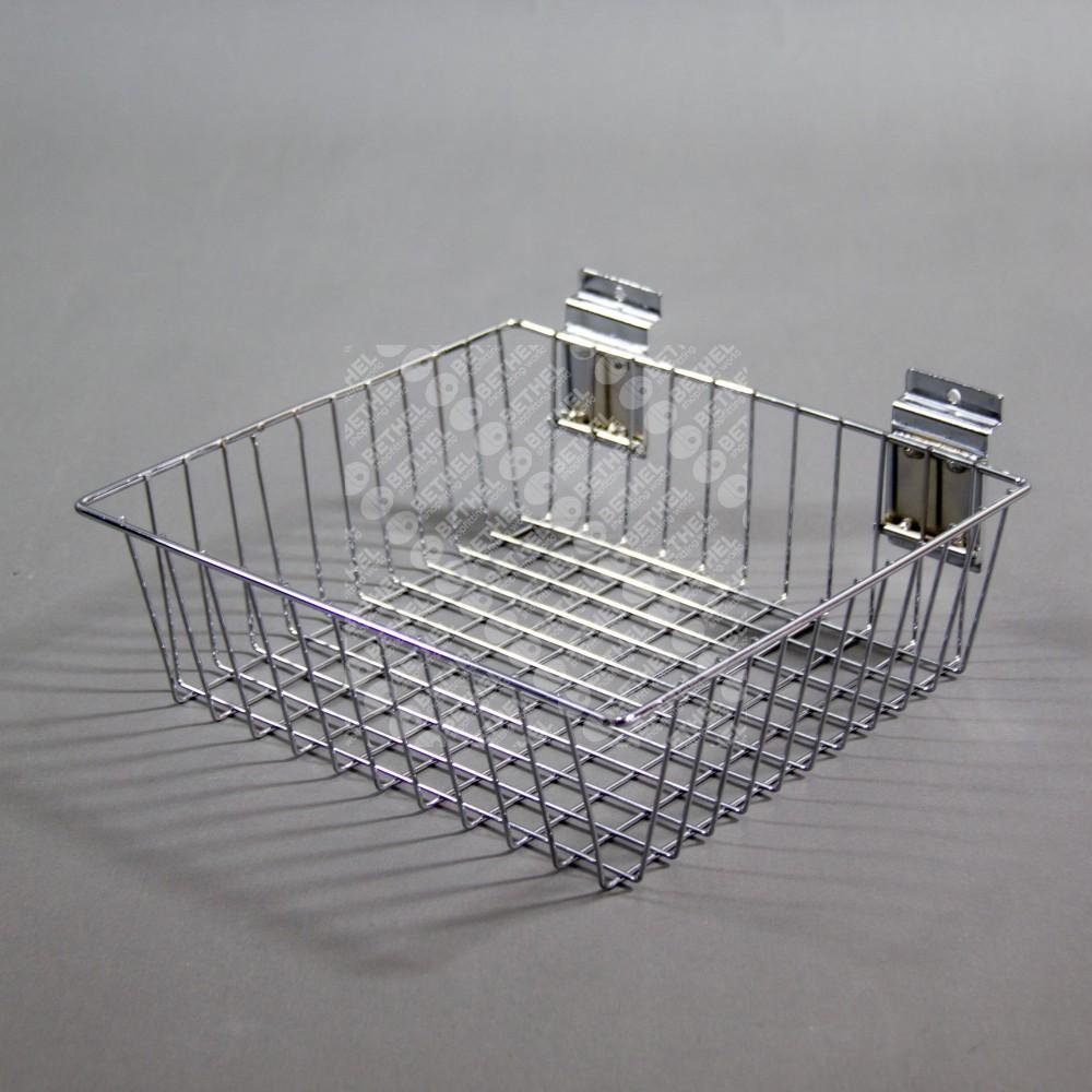 SW-B10 Slat Panel Chrome Shallow Basket-300mm